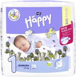 BELLA HAPPY Newborn 1 (2-5 kg) Big Pack 78 ks - jednorazové plie